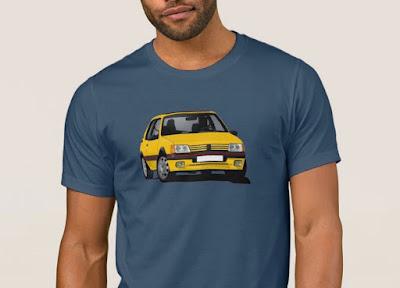 Keltainen Peugeot 205 GTi t-paidat
