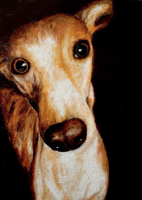 oil painting of a whippet with a beseeching expression