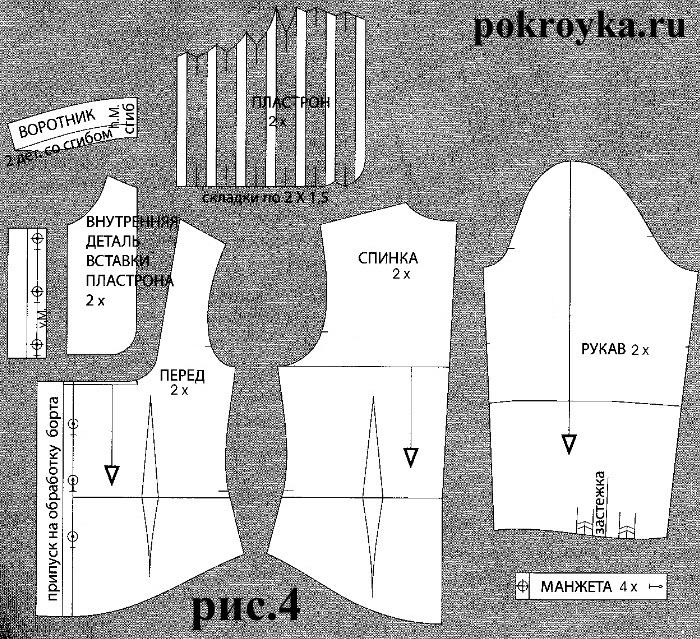 Выкройка блузки со вставкой-пластроном