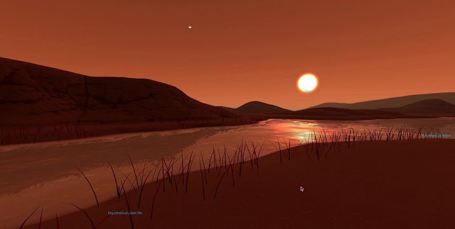 With NASA's interactive Exoplanet Exploration website, you can virtually explore an imagined surface of planets that lie outside our solar system. Shown here, the imagined surface of Kepler-186f, an Earth-size planet orbiting a small red star located 492 light-years from Earth. No real photos of Kepler-186f exist. Credit: NASA/JPL-Caltech