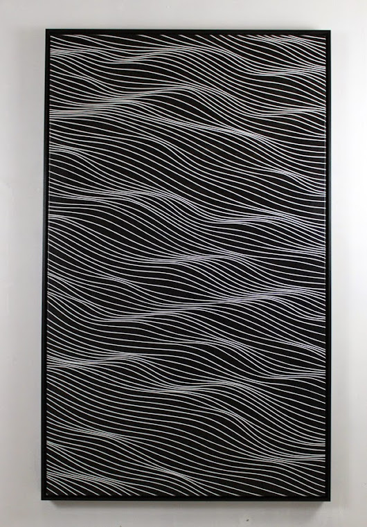 MOMO abstract art - abstract art for everyone: Black LineScape of 3x5 feet