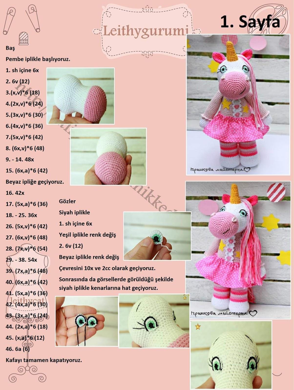 Amigurumi - Gökkuşağı Unicorn Yapımı - Örgü Modelleri | 1600x1204