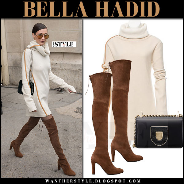 Bella Hadid in beige turtleneck celine mini dress and brown suede high boots stuart weitzman highland what she wore paris