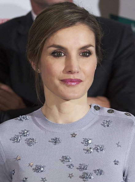 Queen Letizia wore Nina Ricci Dress and Magrit Pumps Letizia carried Chanel cyristal diamond clutch bag