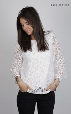 Blouse louange blanche aux manches larges Easy Clothes