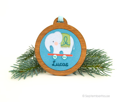 personalized holiday ornaments elephant design handmade by SeptemberHouse