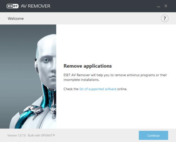 برنامج ESET AV Remover لازالة برامج الحماية المثبتة علي جهازك