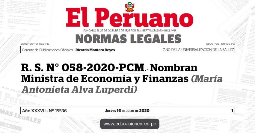 R. S. N° 058-2020-PCM.- Nombran Ministra de Economía y Finanzas (María Antonieta Alva Luperdi)