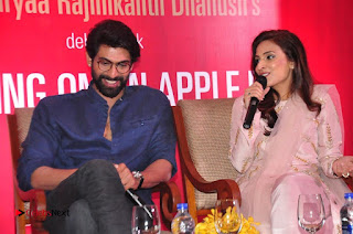 Aiswarya Rajinikanth Dhanush Standing on an Apple Box Launch Stills in Hyderabad  0066.jpg