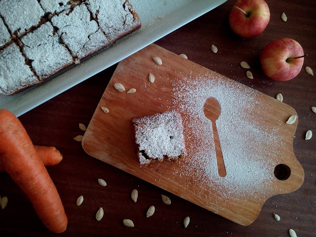 bizcocho de zanahoria y manzana