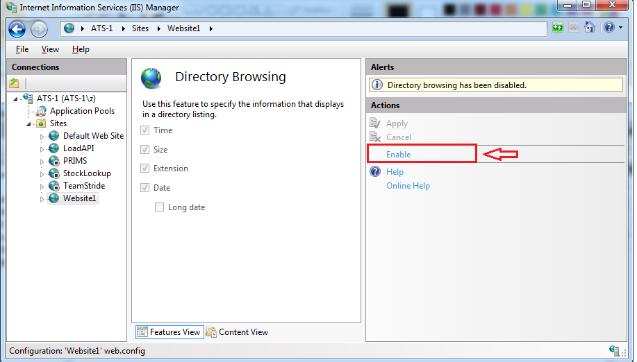 Enable directory browsing