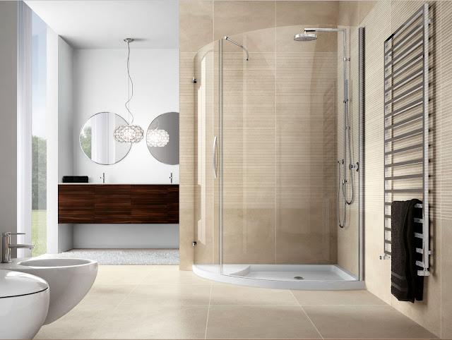 Moderne-eck-duschkabine-viertelkreis-glas-Design-mit-beige-wandfliesen-Dekor