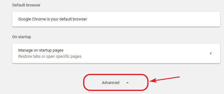 open advanced settings in chrome