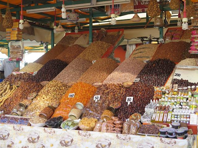 Frutos secos en el zoco de Marraquech