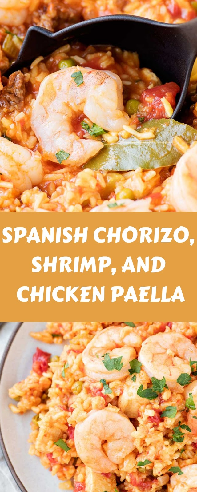 SPANISH CHORIZO, SHRIMP, AND CHICKEN PAELLA