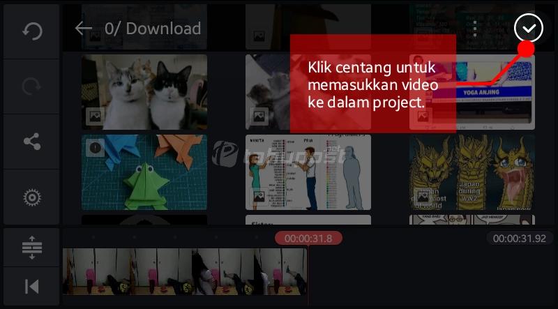 Memasukkan Video ke dalam project KineMaster