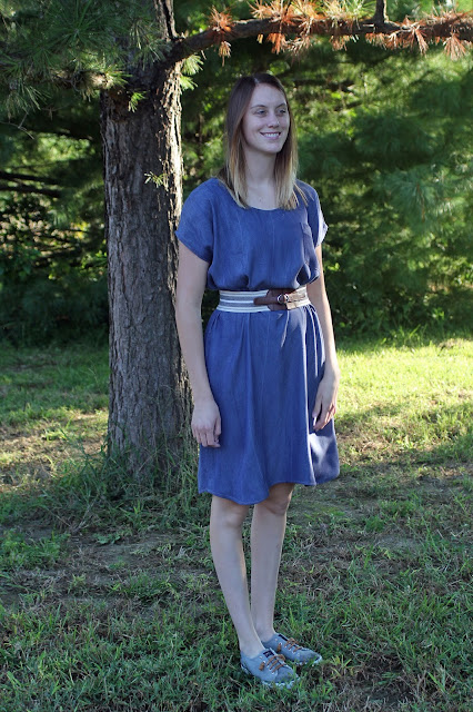 Lou Box Top lengthened to a dress, made in Tencel Denim