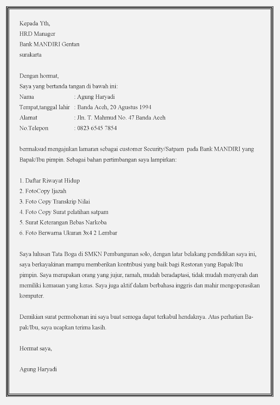 Contoh Surat Lamaran Satpam Bank Bri Kumpulan Contoh Gambar