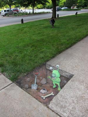 A green creature exploring underground