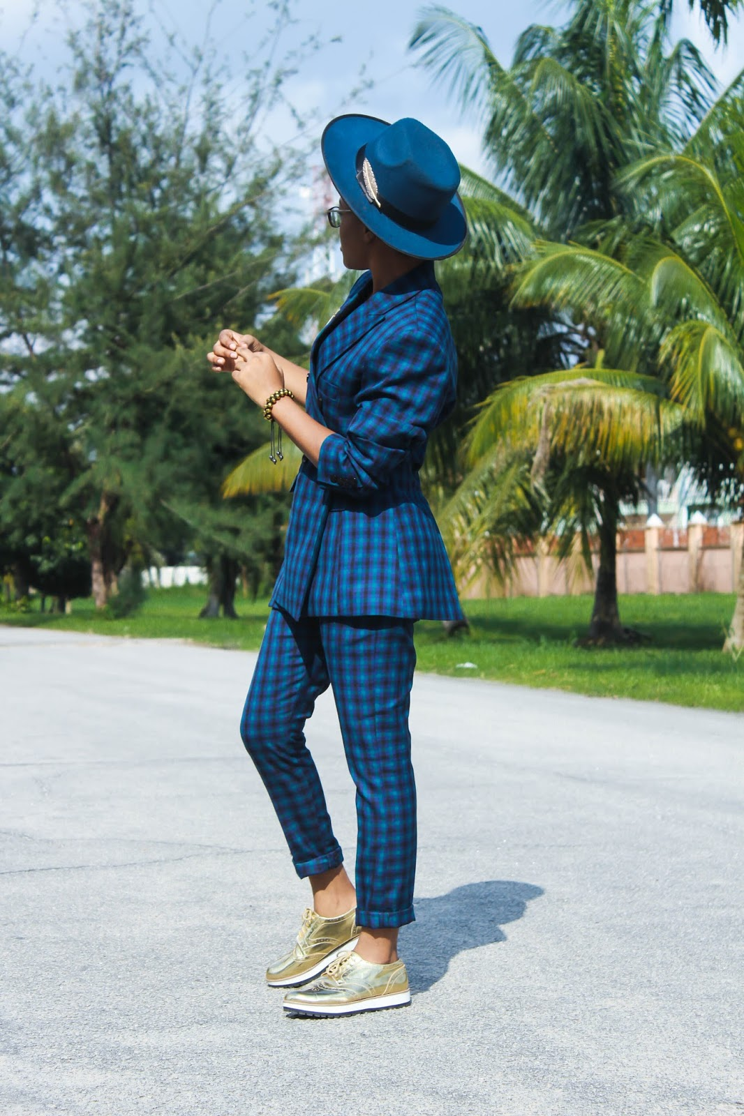 tomboy shoes, gold brogue and plaid suit