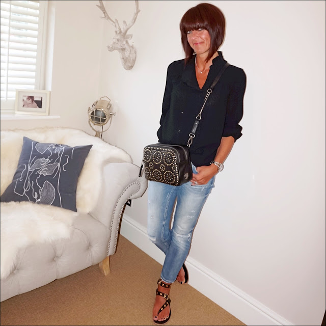 my midlife fashion, ba&sh blouse, village england penshaw cross body bag, zara distressed cigarette jeans, iro paris eyelet metal leather sandals