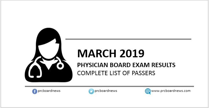 LIST OF PASSERS: March 2019 Physician board exam PLE result