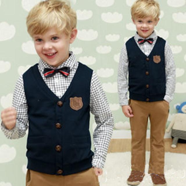 Bow Tie Decorated Vest Plaid Shirt Trouser Sets
