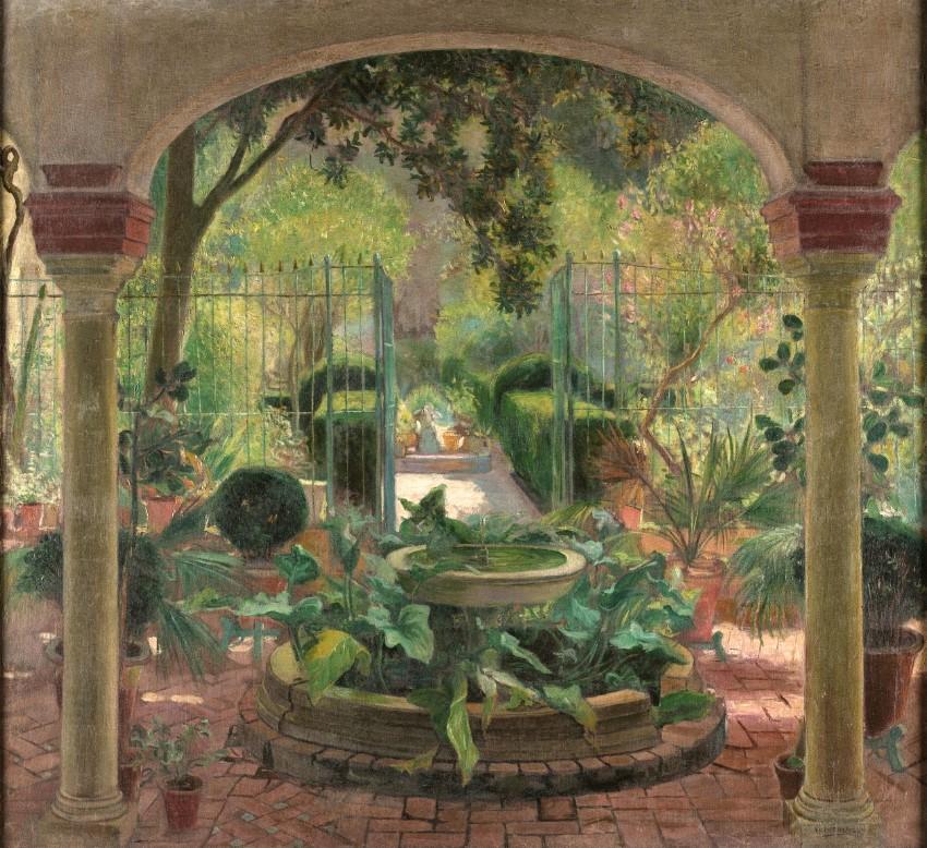 patio de entrada al jardín con arcos y fuente