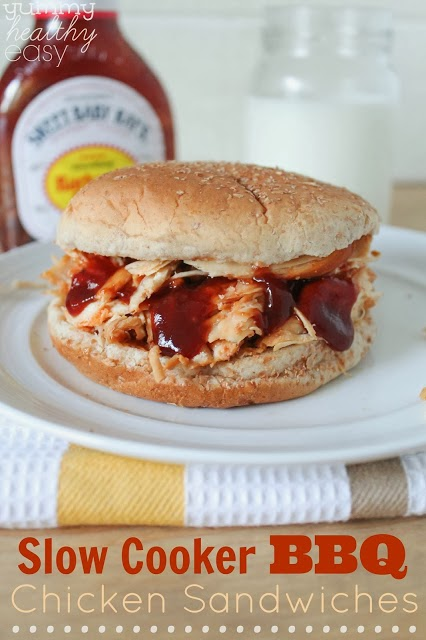 Slow Cooker BBQ Shredded Chicken Sandwiches