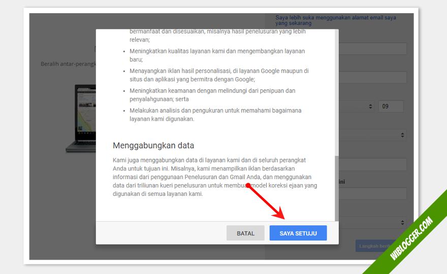 cara mendaftar blogger dengan akun gmail