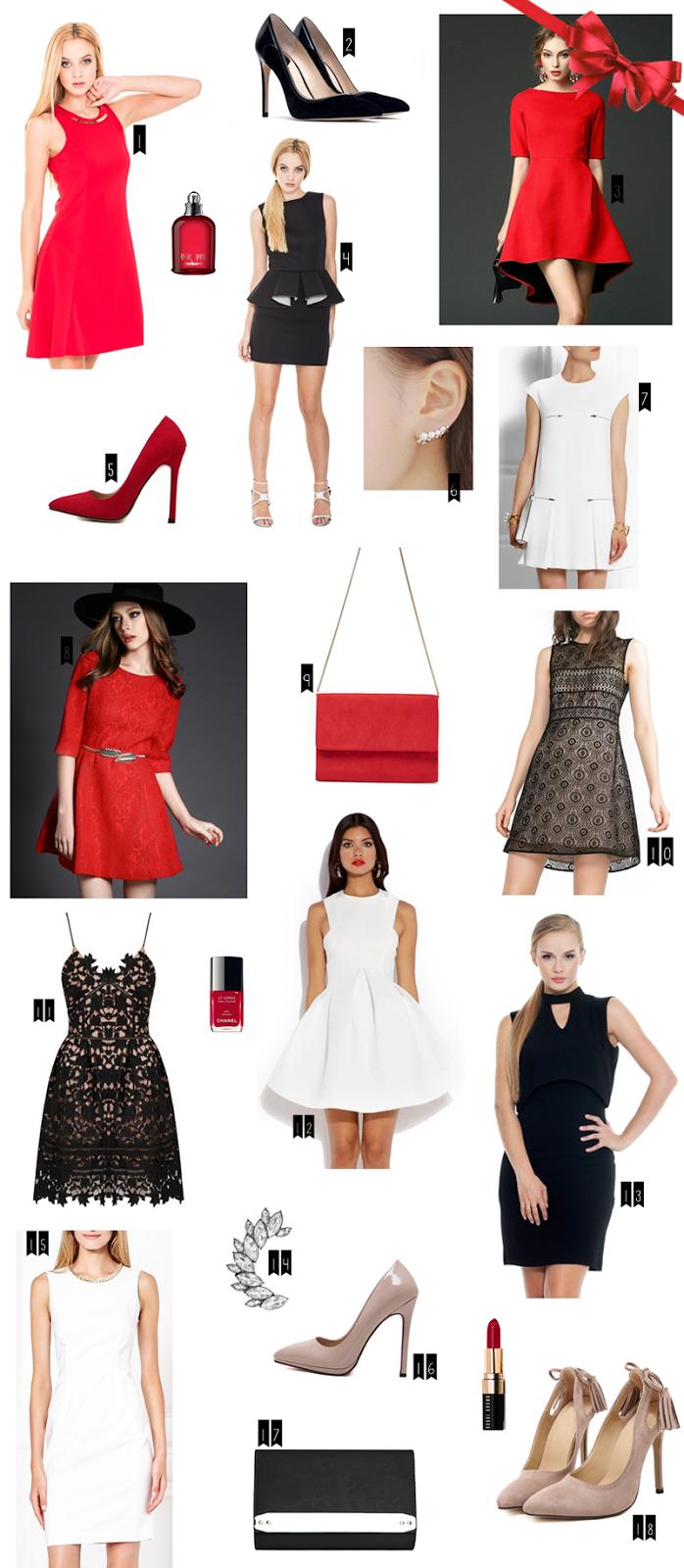 eleganckie sukienki na święta mała czarna czerwona sukienka