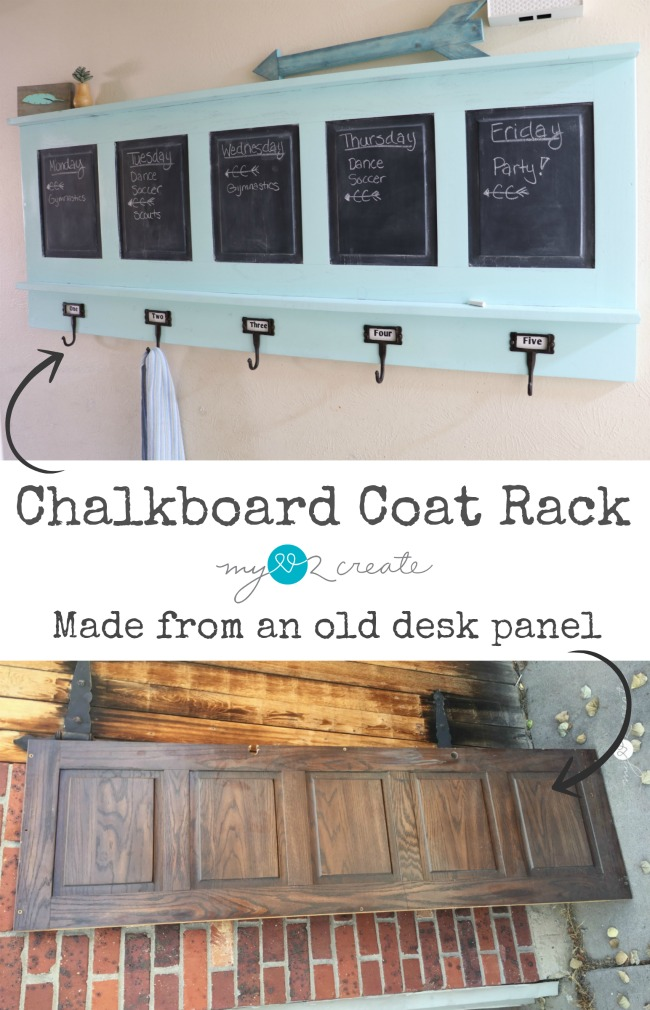 How to make a Repurposed Chalkboard Coat Rack and keep your family organized!  Full easy to follow picture tutorial at MyLove2Create