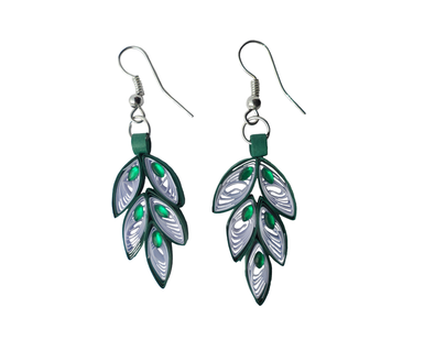 Simple leaf model tear drop quilling earring for kids - Quillingpaperdesigns