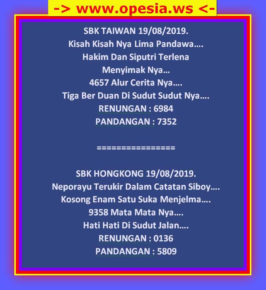 Kode Syair Hk 19 Agustus 2019 Forum Syair Togel Hongkong
