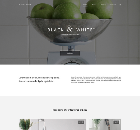 Black White – Free PSD Web Template