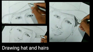 How to draw a potrait sketch of Bhagat Singh, hats and hairs of Bhagat Singh