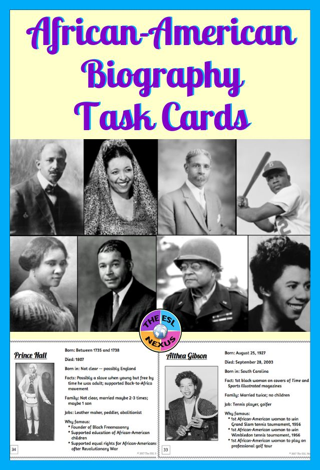 Learn about African-American history with these 80 task card biographies | The ESL Nexus