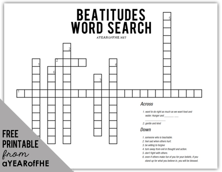 A Year of FHE // Beatitudes Word Search to help older children and adults understand the meaning of the Beatitudes.  #lds #familyhomeevening #beatitudes