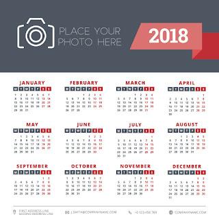2018カレンダー無料テンプレート011
