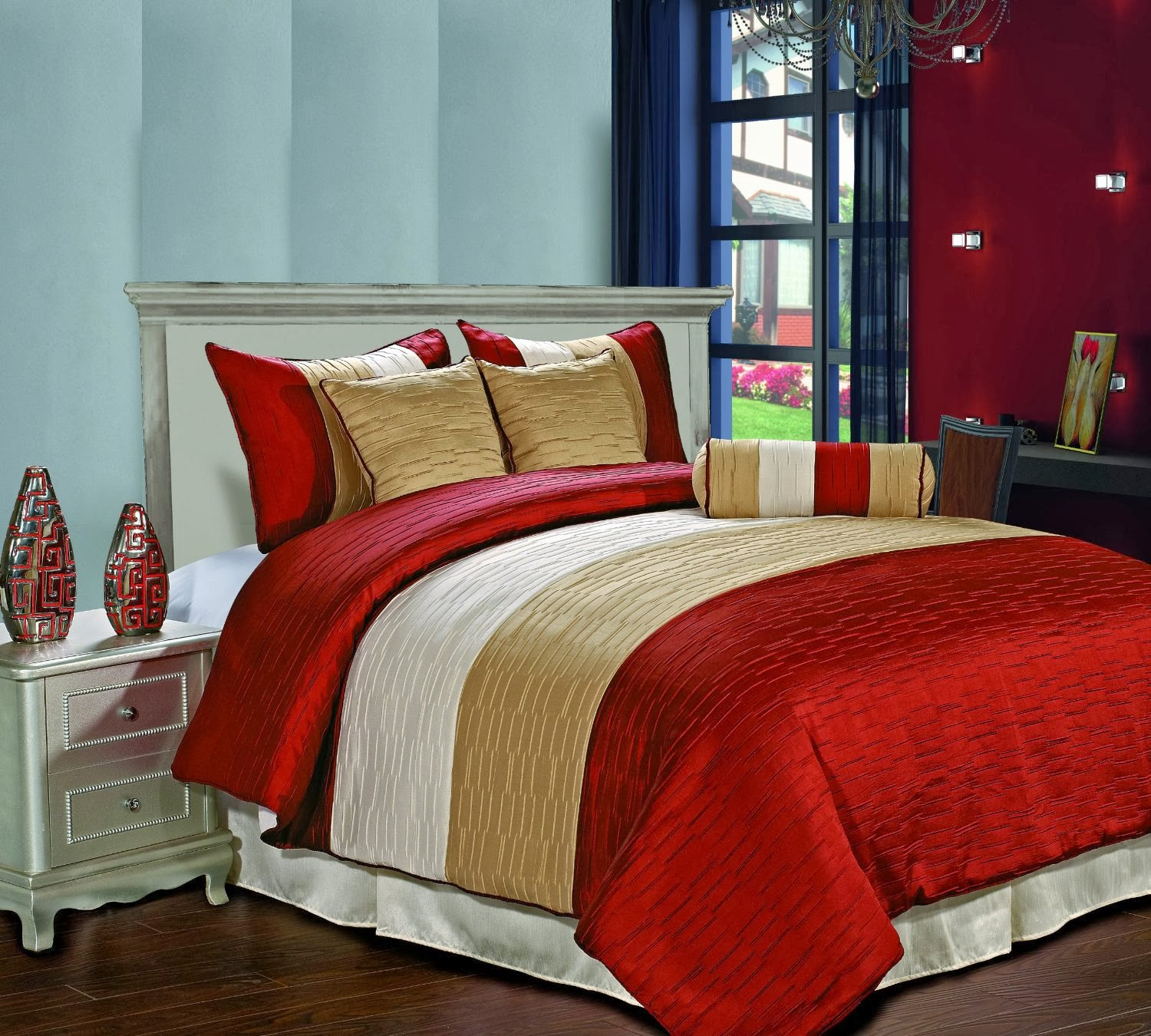 Red And Beige Cream Bedding Ease Bedding With Style: red and cream bedroom ideas