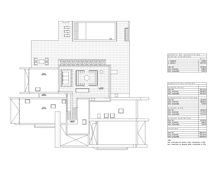 Roof floor plan of Sotogrande House by A-Cero Architects