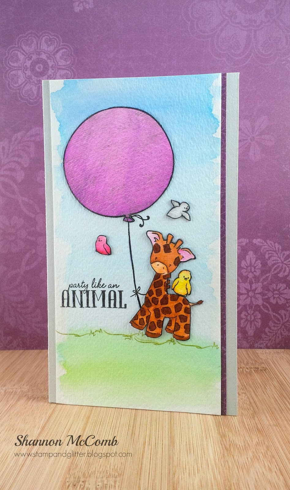 Stamp Glitter Birthday Watercolor Card Featuring Wplus9