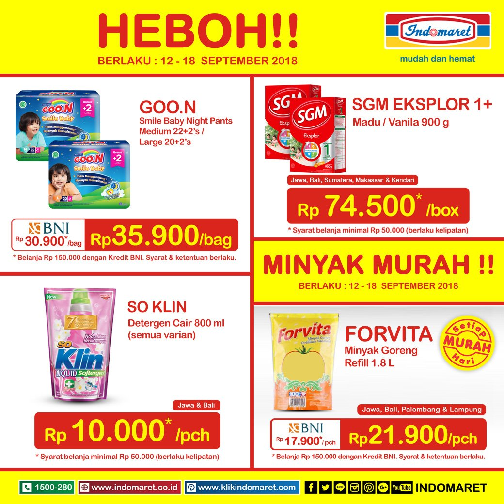 Indomaret - Promo Harga Heboh Periode 12 - 18 Agustus 2018