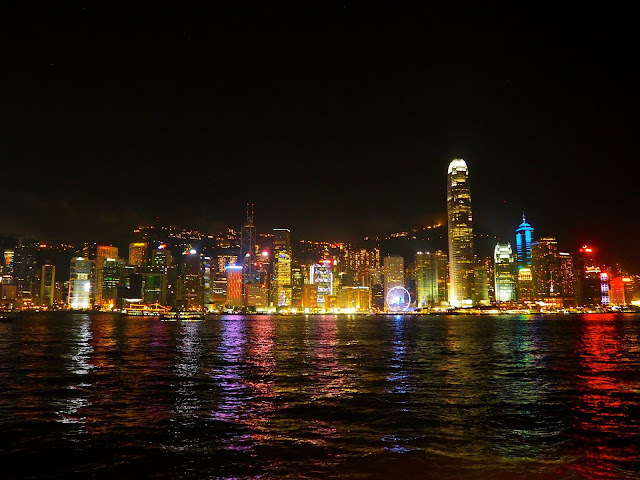 View of Hong Kong island skyline at night from Tsim Sha Tsui Promenade
