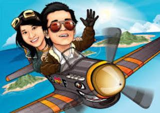 Gambar Karikatur Wedding Pesawat