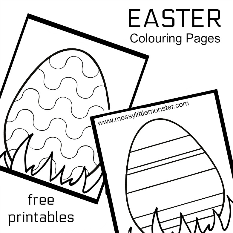 image relating to Printable Easter Egg known as Easter Egg Colouring Web pages - Messy Minor Monster