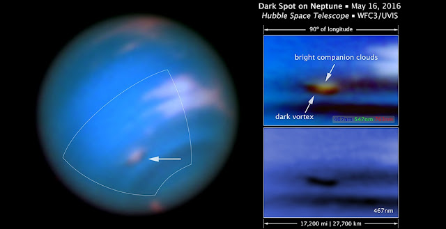This new Hubble Space Telescope image confirms the presence of a dark vortex in the atmosphere of Neptune. The full visible-light image at left shows that the dark feature resides near and below a patch of bright clouds in the planet's southern hemisphere. The full-color image at top right is a close-up of the complex feature. The vortex is a high-pressure system. The image at bottom right shows that the vortex is best seen at blue wavelengths Credits: NASA, ESA, and M.H. Wong and J. Tollefson (UC Berkeley)