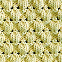 Acorn Eyelet and Lace Knitting Stitch Pattern, worked in the round.