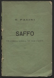 The title page of Pacini's opera, Saffo, regarded as his best