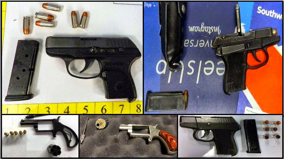 Clockwise from top left, firearms discovered at: BNA, DTW, LIT, CMH & FLL
